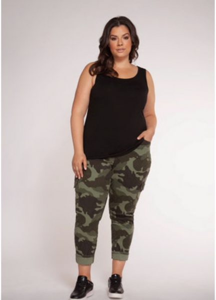Plus Size Black Reversible Scoop/V-Neck Tank Top