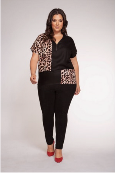 Plus Size Black and Leopard Color Block Top