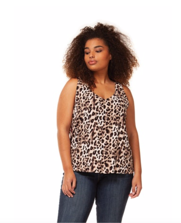 Plus Size Sleeveless Leopard Top with Burgundy Detailing