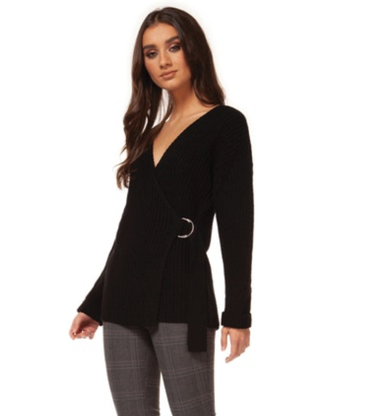Black Long Sleeve Front Wrap Sweater