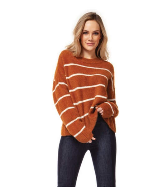 Camel and Ivory Stripe Scoop Neck Sweater