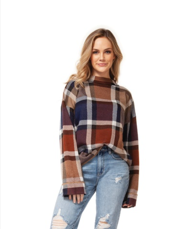 Camel Plaid Mock Turtleneck Sweater