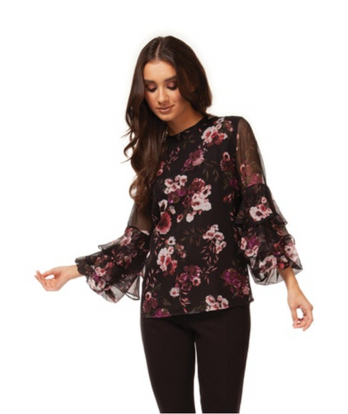 Black Floral 3/4 Tierred Sleeve Blouse