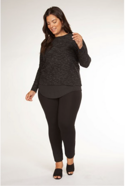 Plus Size Black/White Marble Sweater