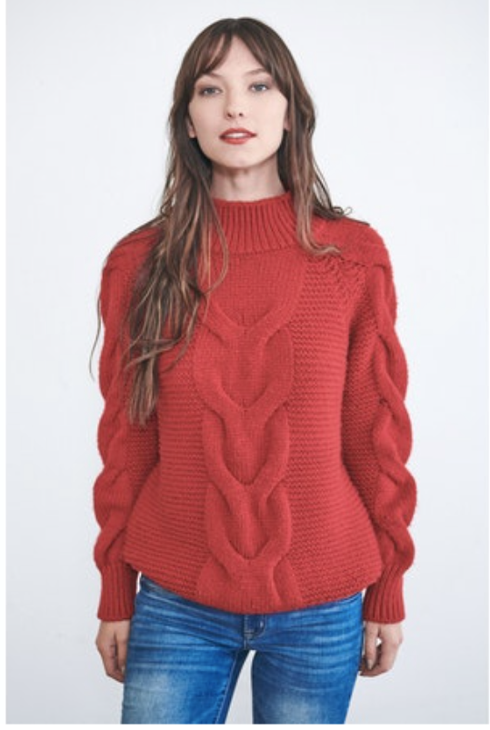Brick Red Cable Knit Sweater