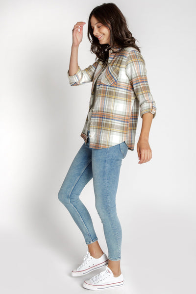 Wendalyn Shirt in Melon Green Plaid