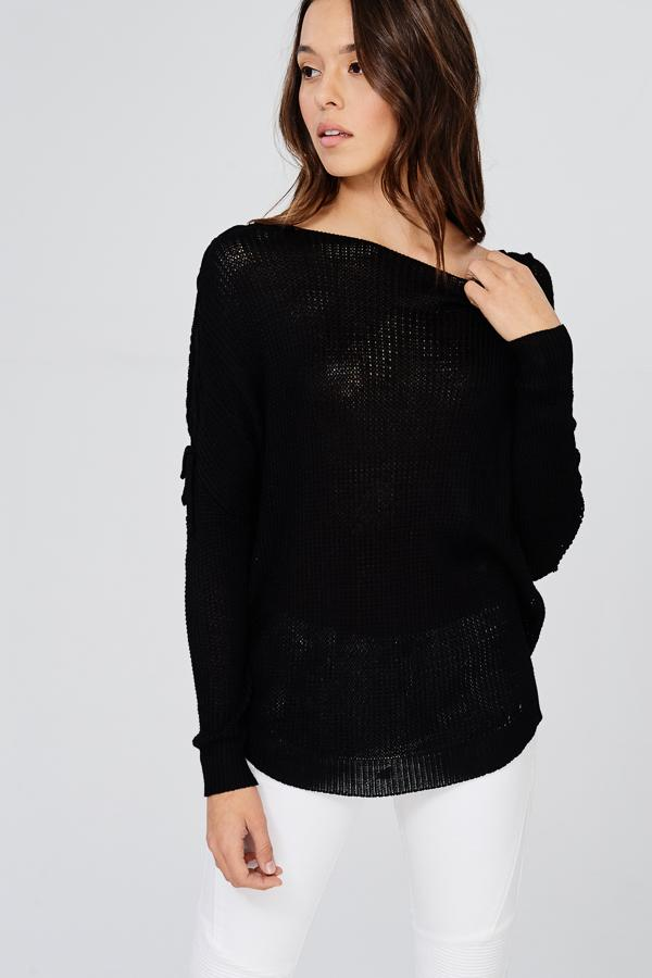 Black Boat Neck Lace-Up Lightweight Sweater