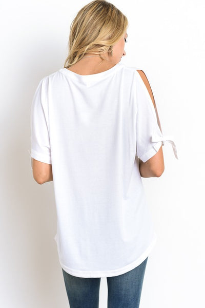Short Cut Out Sleeve Top