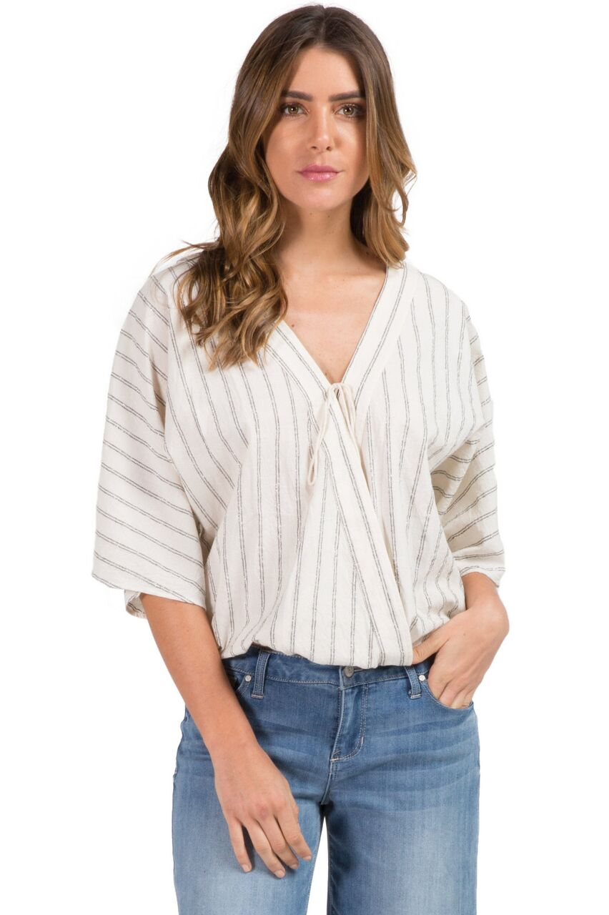 Natural and Black Metallic Stripe Wrap Top