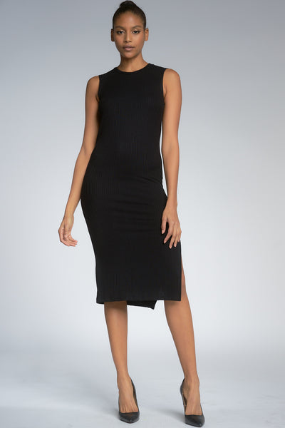 Black Sleeveless Ribbed Midi Dress