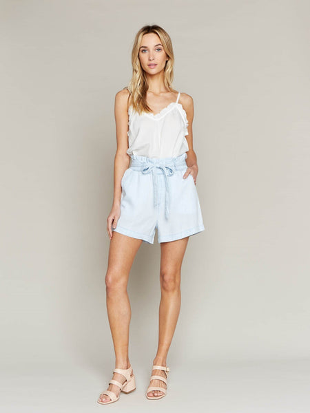 High Waisted Paperbag Ari Shorts in Light Chambray