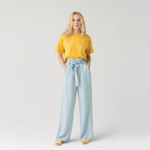 High Rise Paper Bag Tie Front Chambray Pants
