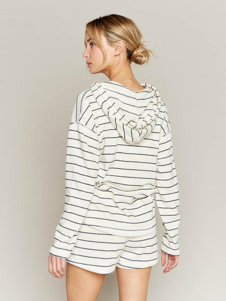 Tide Pool Pullover in Ecru with Navy Blue Stripes