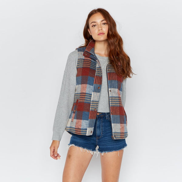 Blue and Rust Plaid Vest