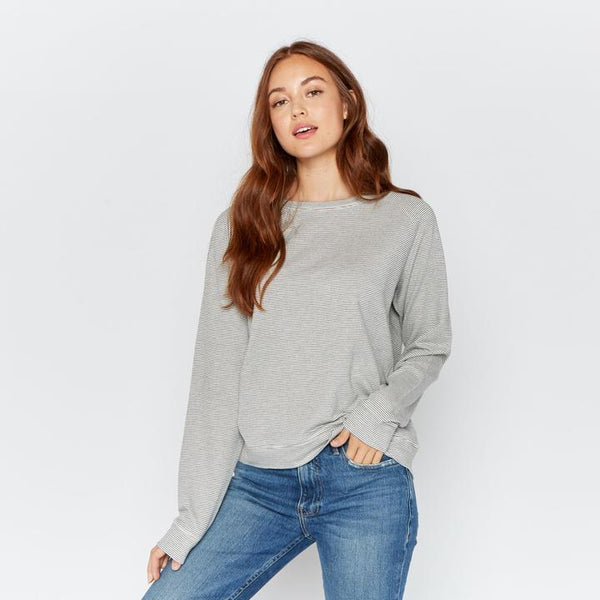 Grey Stripe Crew Neck Tops
