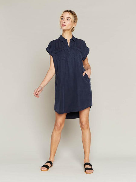 Twilight Short Sleeve Dress In Navy Blue