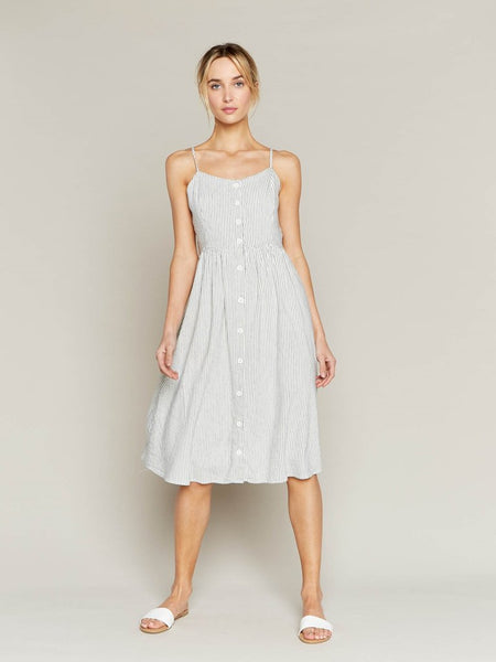 Sunday Brunch Dress in Ivory with Navy Stripes