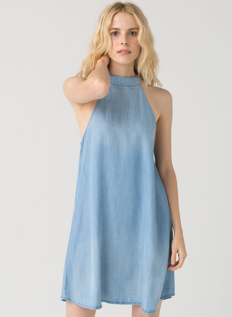 Halter Neck Lightweight Denim Dress