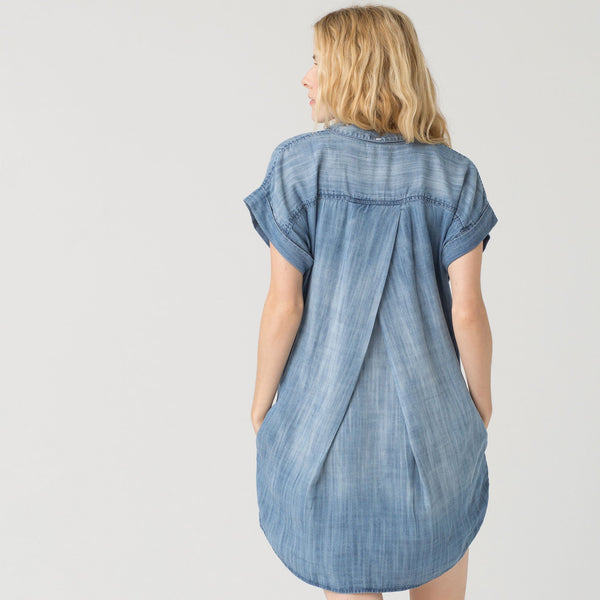Button Down Sandblast Denim Dress