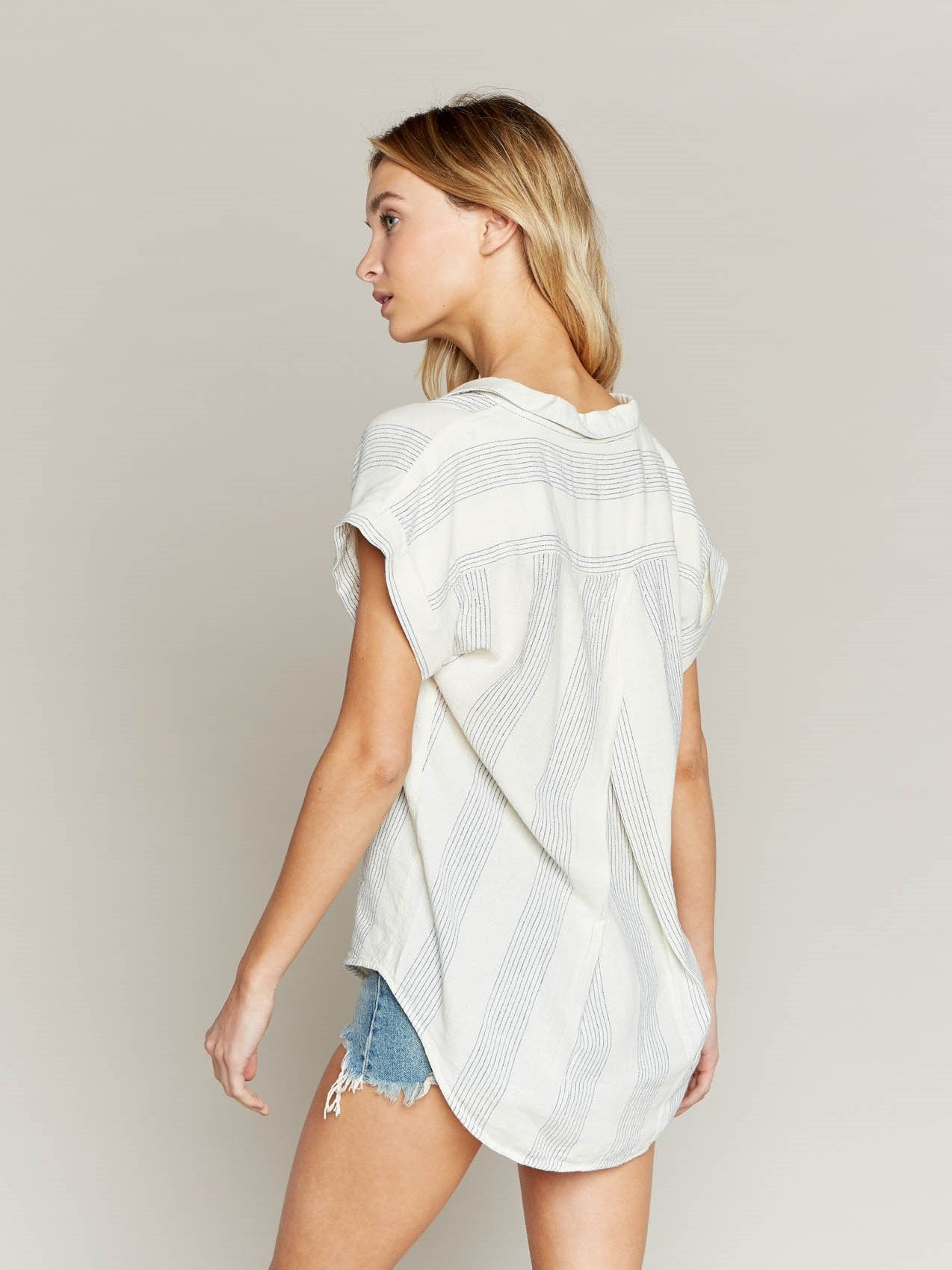 Tania Short Sleeve Camp Style Top
