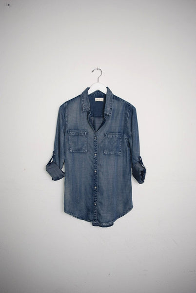 Dark Chambray Button Down Shirt