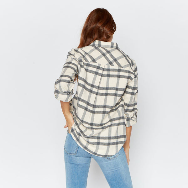 Drexel Flannel Shirt in Grey/Ivory Plaid