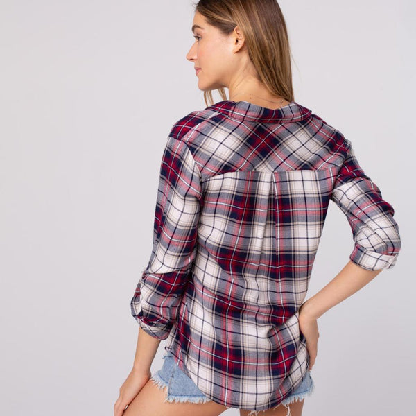 Navy and Red Plaid Button Down Shirt