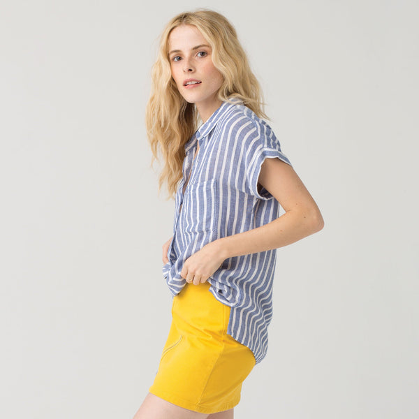 Short Sleeve Stripe Button Down Casual Shirt
