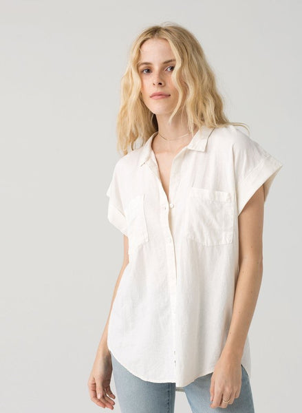 Short Sleeve Grey Over-sized Button Down Shirt