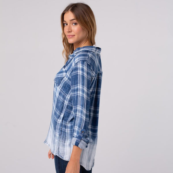 Blue Plaid Button Down Shirt