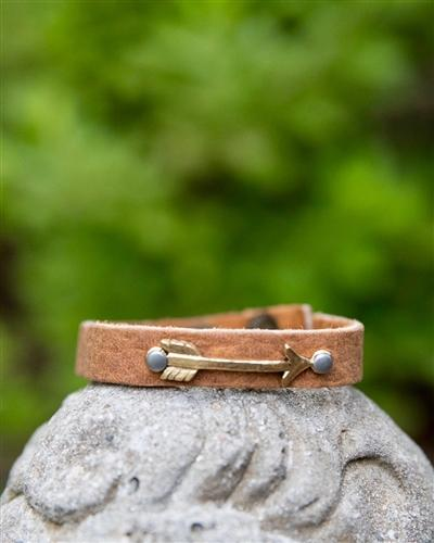 Tan Leather Skinny Cuff with Metal Arrow