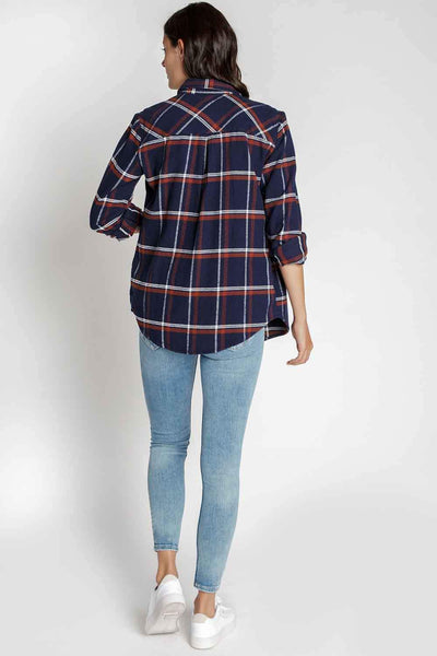 Camber Flannel Shirt in Navy Blue/Merlot Plaid