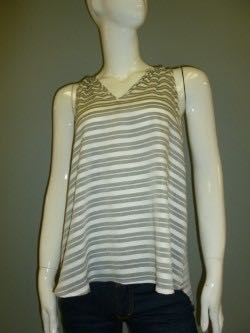 Grey and White Striped Sleeveless Top