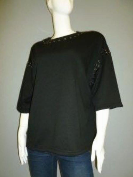 Black Sweatshirt with Stud Details