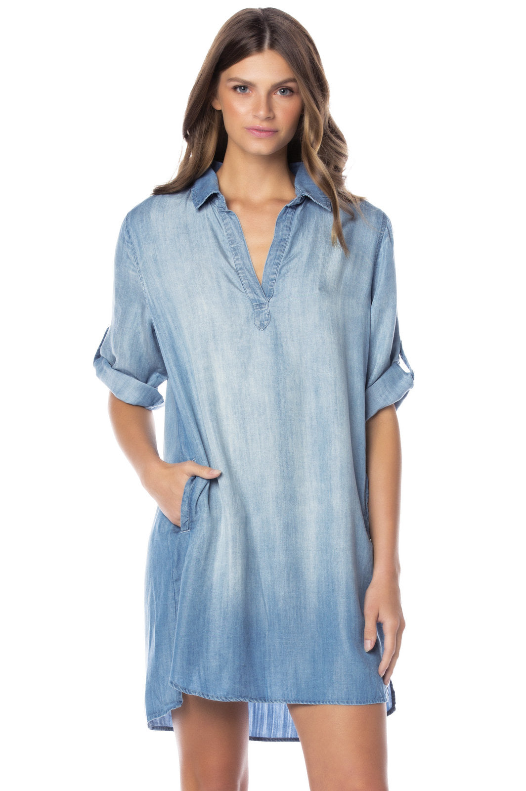 Long Sleeve Collared V Neck Denim Dress