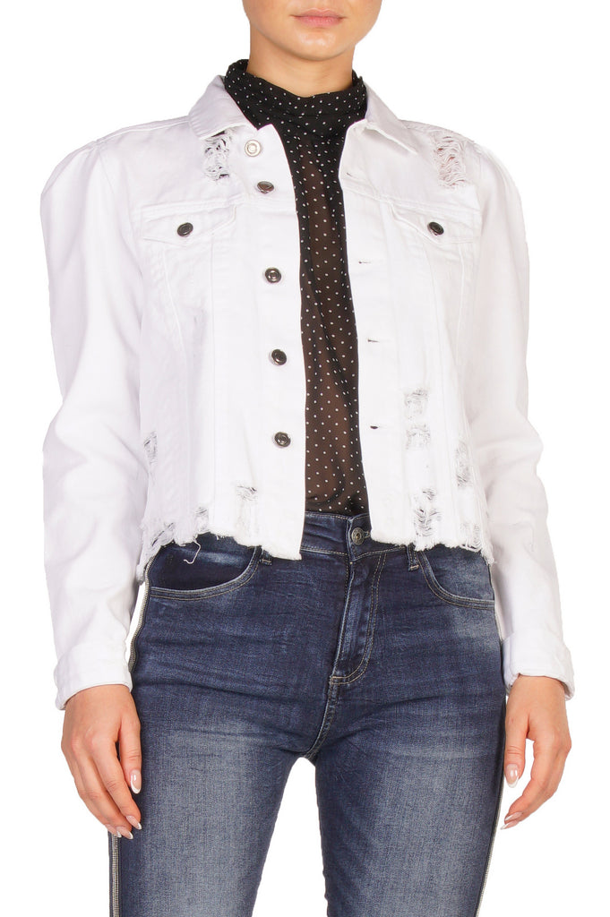 White Denim Jacket with Puff Shoulder