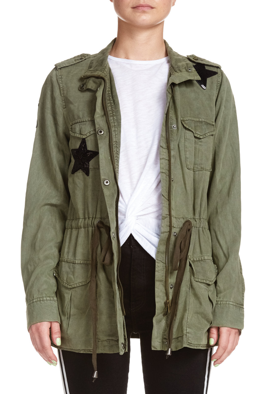 Olive Green Jacket with Black Stars