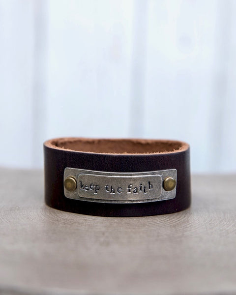 Inspirational Stamped Brown Leather Cuff