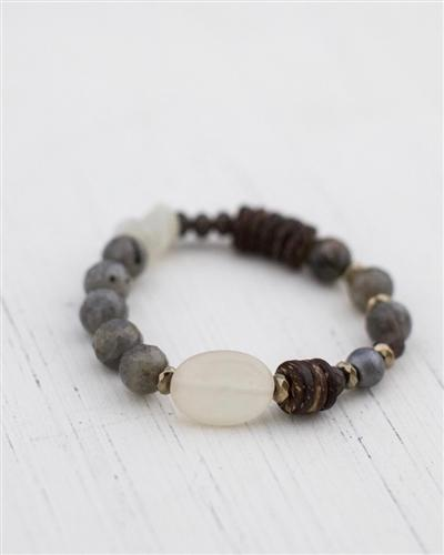 Mixed Stone and Wooden Bead Stretch Bracelet