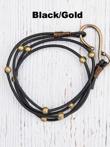 Double Leather Hook Wrap Bracelet