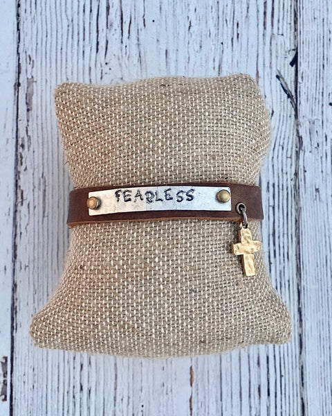 Skinny Leather Inspirational Stamped Cuff