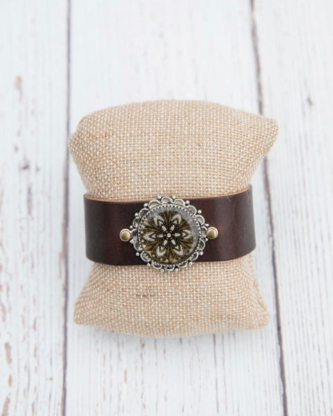 Brown Leather Kaleidoscope Cuff