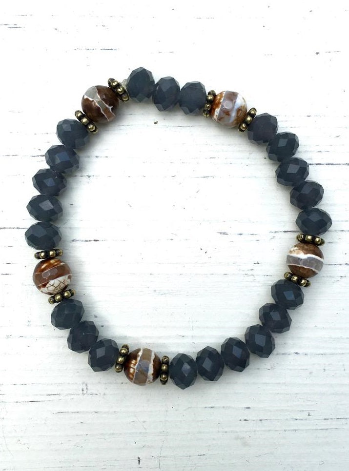 Handcrafted Carbon Bead and Metal Accent Stretch Bracelet