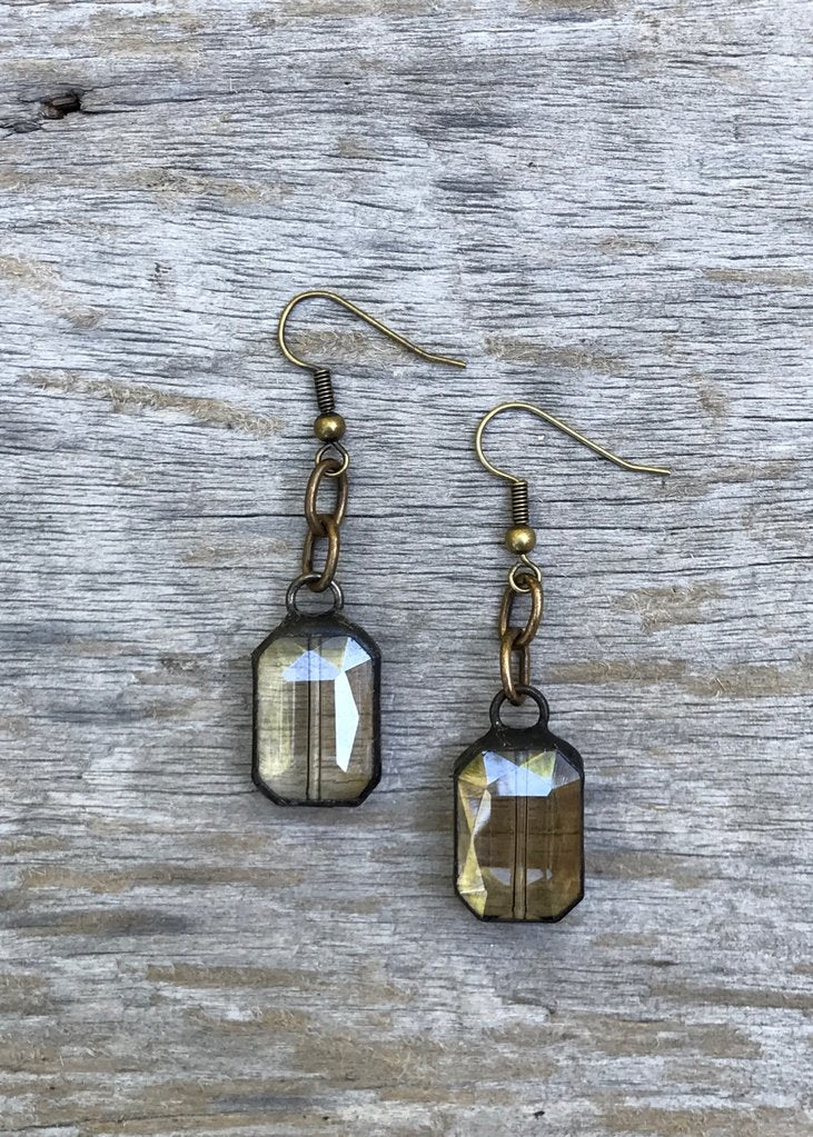Rectangle Iron Soldered Crystal Dangle Earrings