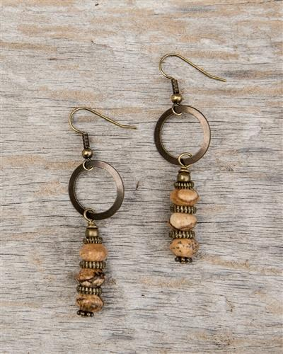 Light Brown Stone and Metal Dangle Earrings