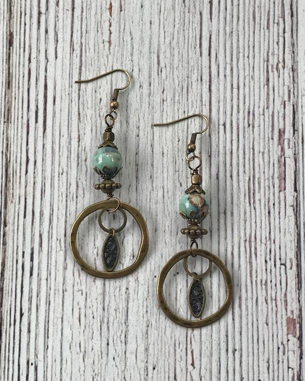 Antique Brass Circle Earrings with Turquoise Stone