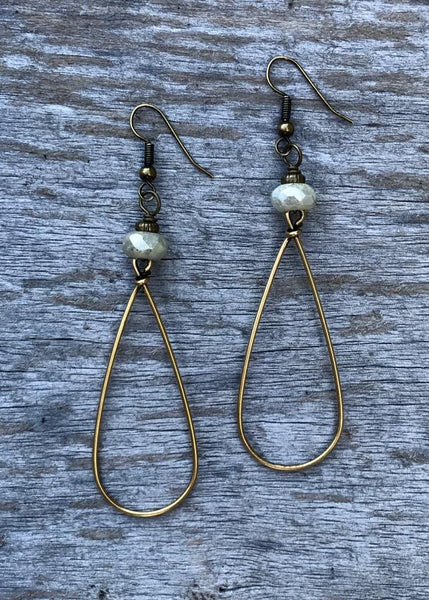 Gold Large Teardrop with Stone Earrings