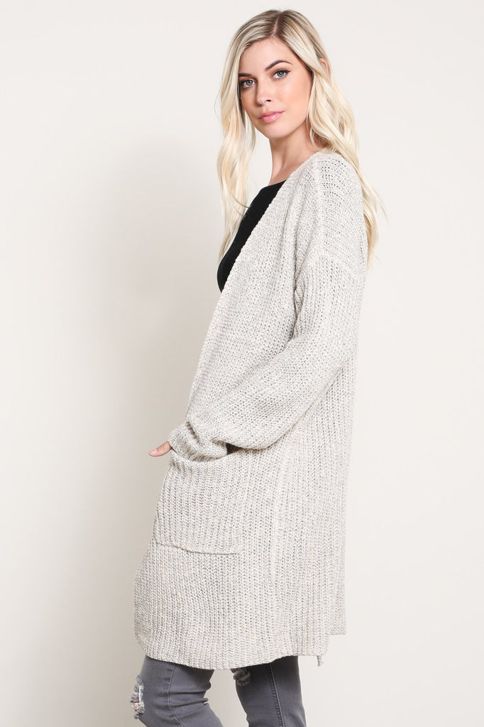 Oatmeal Long Cardigan with Lace Up Back Slit
