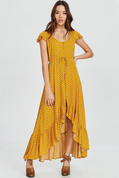 Mustard Polka Dot Ruffle Hem Maxi Dress