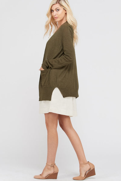 Olive Green Boucle Long Cardigan